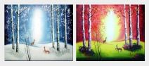 Deers Playing in Forest - 2 Canvas Set Oil Painting Animal Impressionism 20 x 48 inches
