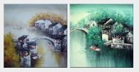 Water Village in Spring And Autumn - 2 Canvas Set Oil Painting China Asian 24 x 48 inches