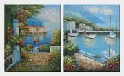 Mediterranean Harbor View - 2 Canvas Set Oil Painting Naturalism 24 x 40 inches
