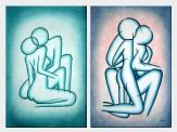 Modern Painting of Kiss - 2 Canvas Set Oil Portraits Couple 36 x 48 inches
