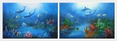 Magical Underwater Sea World - 2 Canvas Set Oil Painting Animal Marine Life Dolphin Fish Naturalism 24 x 72 inches