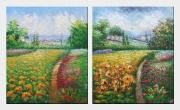 Rural Flower Field - 2 Canvas Set Oil Painting Landscape Impressionism 24 x 40 inches