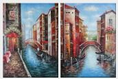 Venice Street Scenes - 2 Canvas Set Oil Painting Italy Impressionism 48 x 72 inches