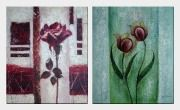 Purple Rose Flower - 2 Canvas Set Oil Painting Modern 24 x 40 inches