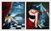 In the Moonlight Pop Art Oil Painting - 2 Canvas Set Portraits Woman Modern 24 x 40 inches