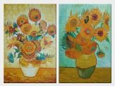 Sunflowers, Van Gogh Reproduction - 2 Canvas Set Oil Painting Still Life Post Impressionism 36 x 48 inches