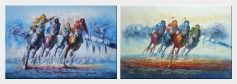 Spur on Galloping Horses in Racing - 2 Canvas Set Oil Painting Portraits Animal Modern 24 x 72 inches