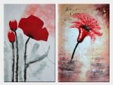 Modern Red Flower Blooming - 2 Canvas Set Oil Painting 36 x 48 inches