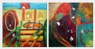 Color Mixture Large Modern Oil Painting - 2 Canvas Set Nonobjective 30 x 60 inches
