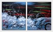 Blissful Life - 2 Canvas Set Oil Painting Nonobjective Decorative 24 x 40 inches