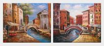 Bridge Across Venice Street - 2 Canvas Set Oil Painting Italy Naturalism 20 x 48 inches