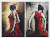 Two Spanish Flamenco Dancers - 2 Canvas Set Oil Painting Portraits Woman Impressionism 36 x 48 inches