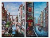 Canals in Venice - 2 Canvas Set Oil Painting Italy Naturalism 36 x 48 inches
