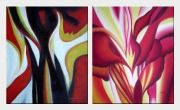 Abstract Red Floral Oil Painting - 2 Canvas Set Nonobjective Modern 24 x 40 inches