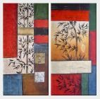 Bamboo on Modern Setting - 2 Canvas Set Oil Painting Flower Asian 48 x 48 inches