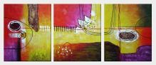 Colorful Connections Abstract Painting - 3 Canvas Set  24 x 60 inches