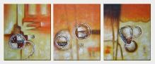 Circles in Yellow and Brown - 3 Canvas Set Oil Painting Nonobjective Decorative 24 x 60 inches