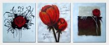 Red Rose - 3 Canvas Set Oil Painting Flower Decorative 24 x 60 inches