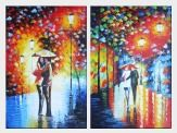 Lovers On Rainy Day Street at Night - 2 Canvas Set Oil Painting Portraits Couple Modern 36 x 48 inches