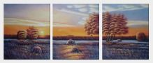 Trees Around Quiet Lake Peaceful Scenery - 3 Canvas Set Oil Painting Landscape Naturalism 24 x 60 inches