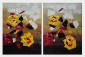 Dancing Red and Yellow Flowers - 2 Canvas Set Oil Painting Modern 32 x 48 inches