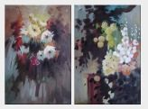 Flowers in Impression - 2 Canvas Set Oil Painting Still Life Impressionism 36 x 48 inches