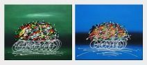 Abstract Cyclic Race Oil Painting - 2 Canvas Set Portraits Cycling Modern 20 x 48 inches