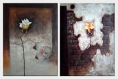 Yellow Roses - 2 Canvas Set Oil Painting Still Life Flower Decorative 40 x 60 inches