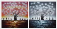 Gleaming Red Tree - 2 Canvas Set Oil Painting Landscape Decorative 30 x 60 inches