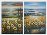 Tuscany Sunflower Field View - 2 Canvas Set Oil Painting Landscape Naturalism 36 x 48 inches
