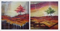 Modern Tree In Winter Ice - 2 Canvas Set Oil Painting Landscape Decorative 32 x 64 inches
