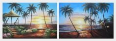 Hawaii Beach with Palm Trees on Sunset - 2 Canvas Set Oil Painting Seascape America Naturalism 24 x 72 inches