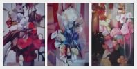 Elegant Flowers in a Warm Setting - 3 Canvas Set Oil Painting Still Life Decorative 36 x 72 inches