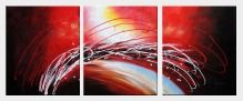 Reed Moving in Wind in Red Abstract Oil painting - 3 Canvas Set  24 x 60 inches