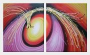 Colorful Vortex Abstract Oil painting - 2 Canvas Set Nonobjective Decorative 24 x 40 inches