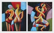 Cubism Nude Couples - 2 Canvas Set Oil Painting Portraits Modern 24 x 40 inches