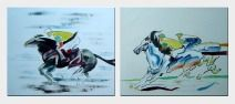Racing Horse and Jockey - 2 Canvas Set Oil Painting Portraits Animal Modern 20 x 48 inches