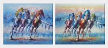 Spur on Galloping Horses in Racing - 2 Canvas Set Oil Painting Portraits Animal Modern 20 x 48 inches