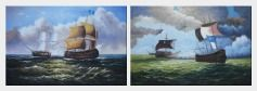 Caribbean Pirate Ship Attack Merchant Ship in Sea - 2 Canvas Set  24 x 72 inches