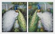 Colorful Peacocks Staying in a Tree with Waterfall - 2 Canvas Set  24 x 40 inches