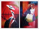 Modern Women - 2 Canvas Set Oil Painting Portraits Woman 36 x 48 inches