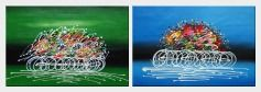 Cycling Race in Green Background - 2 Canvas Set Oil Painting Portraits Modern 24 x 72 inches