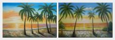 Tropical Paradise of Palm Trees on Sunset at Seaside - 2 Canvas Set  24 x 72 inches