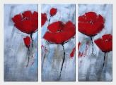 Red Poppies in Gray Background - 3 Canvas Set Oil Painting Flower Decorative 36 x 48 inches
