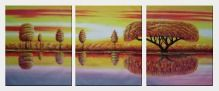 Golden Tree Reflections - 3 Canvas Set Oil Painting Landscape River Naturalism 24 x 60 inches