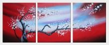 Blooming Plum Tree - 3 Canvas Set Oil Painting Flower Asian 24 x 60 inches