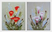 Colorful Calla Lilies - 2 Canvas Set Oil Painting Flower Lily Decorative 24 x 40 inches