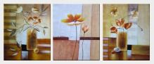 Vases of Flowers in Warm Setting - 3 Canvas Set Oil Painting Decorative 24 x 60 inches