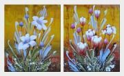 Colorful Flowers - 2 Canvas Set Oil Painting Tulip Decorative 24 x 40 inches