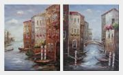 Boats Parking At Tranquil Street of Venice - 2 Canvas Set Oil Painting Italy Impressionism 24 x 40 inches